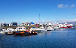 Boats in the harbour of Reykjavik, Iceland. Royalty Free Stock Photography