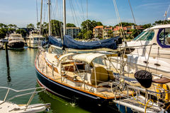 Boats in harbour town of south beach hilton  head Stock Photo