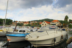 Boats Harbouring in Stari Grad on Island Hvar in Croatia Stock Photography