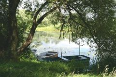 Boats on Havel river in summer time (Havelland, Germany) Royalty Free Stock Image