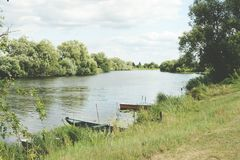 Boats on Havel river in summer time (Havelland, Germany) Stock Photo