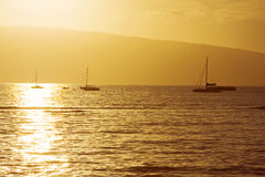 Boats At Hawaiian Sunset Stock Photography