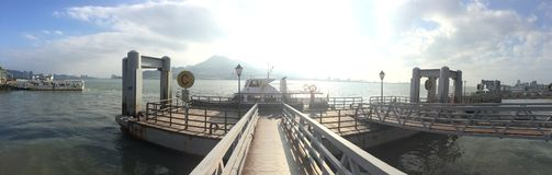 Boats stopping at Jetty bay at Taiwan royalty free stock image