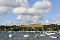 Boats in Helford fiord, Falmouth Royalty Free Stock Photos