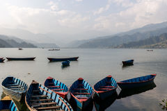 Boats for Hire in Nepal. Lake Pokhara Boats for Hire in Nepal Himalayas Royalty Free Stock Images