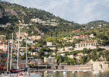 Boats and Homes in Villefranche Stock Photo