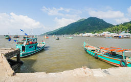 Boats in Hon Tre pier, early morning, Nam Du Islands, Kien Giang Royalty Free Stock Photos