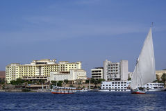 Boats and hotel. In Aswan, Rgypt Royalty Free Stock Photos