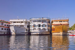 Boats (hotels) anchored in the Luxor (Egypt) Royalty Free Stock Photography
