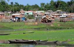 Boats an houses in Amazonia Royalty Free Stock Photography