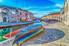 boats and houses in Comacchio, the little Venice Royalty Free Stock Image