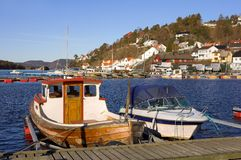 Boats and houses in Norway Stock Images