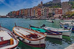Boats and houses in Porto Venere, near Cinque Terre, Italy royalty free stock photography