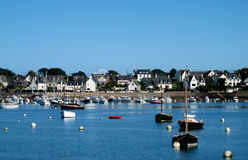 Boats and houses of a small french coast village Stock Photo