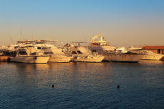 Boats at Hurghada, Egypt. Yachts  on the Red Sea in Hurghada, Egypt at sunset Royalty Free Stock Image