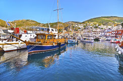 Boats at Hydra island Greece Stock Images