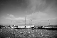 Boats and ice stock image