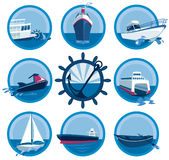 Boats icons collection. Illustration of different boats - from ferry to oil tanker Royalty Free Stock Photo
