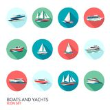 Boats Icons Set Royalty Free Stock Images