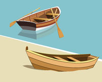 Boats  illustration. Boat on water. Boat on sand Royalty Free Stock Image