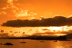 Boats In A Quiet Bay With Island Close To Kenmare Stock Photos