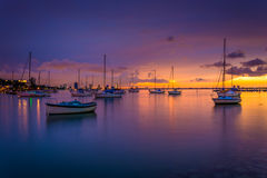 Boats In Biscayne Bay At Sunset, Seen From Miami Beach, Florida. Stock Images
