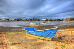Boats In Christchurch Harbour Near Mudeford Dorset England UK Like Painting In Vivid Bright Colour HDR Royalty Free Stock Photos
