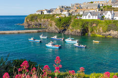 Boats In Port Isaac Harbour Cornwall England UK Stock Photo
