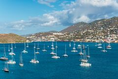 Boats In The Harbor Of St. Thomas, Charlotte Amalie, United States Virgin Islands USVI In The Caribbean Royalty Free Stock Photography