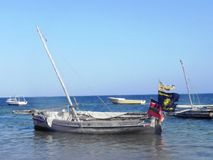 Boats at the Indian Ocean Mombasa. At the East African Coast Stock Photo