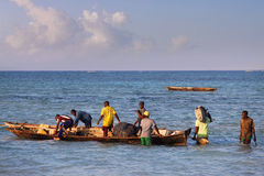 Boats on the Indian Ocean off Nungwi Royalty Free Stock Image