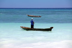 Boats on the Indian Ocean off Nungwi Royalty Free Stock Images