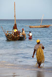 Boats on the Indian Ocean off Nungwi, Zanzibar Royalty Free Stock Photography