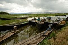 Boats on Inle Lake Royalty Free Stock Photo