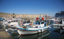 Boats inthe Harbour in the City of Rhodes, Greece Royalty Free Stock Photos