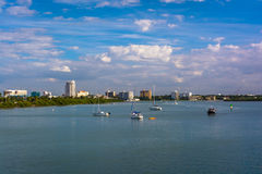 Boats in the Intracoastal Waterway in Clearwater Beach, Florida. Royalty Free Stock Photos