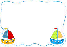 Boats Invitation Card. Invitation card frame with toy boats sailing Royalty Free Stock Photography