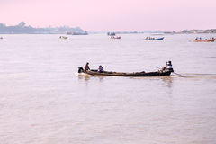 Boats on the Irrawady River in Myanmar Stock Image