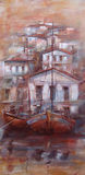 Boats on the island harbor,handmade painting. Boats on the island harbor,handmade oil painting on canvas Royalty Free Stock Images
