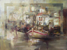 Boats on the island harbor,handmade painting Stock Image