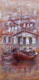 Boats on the island harbor,handmade painting. Boats on the island harbor,handmade oil painting on canvas Stock Images