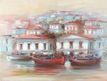 Boats on the island harbor,handmade painting. Boats on the island harbor,handmade oil painting on canvas Stock Photos