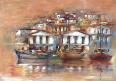 Boats on the island harbor,handmade painting. Boats on the island harbor,handmade oil painting on canvas Stock Photo