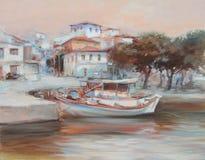 Boats on the island harbor,handmade painting. Boats on the island harbor,handmade oil painting on canvas Stock Photography