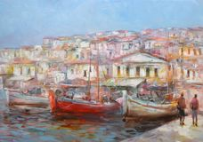 Boats on the island harbor,handmade painting. Boats on the island harbor,handmade oil painting on canvas Royalty Free Stock Image