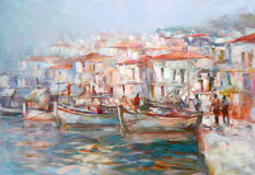 Boats on the island harbor,handmade painting. Boats on the island harbor,handmade oil painting on canvas Royalty Free Stock Photography