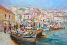 Boats on the island harbor,handmade painting Stock Photography