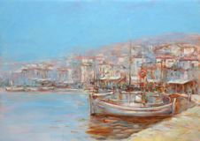 Boats on the island harbor,handmade painting Royalty Free Stock Photography