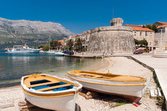 Boats on the Island of Korcula Stock Image