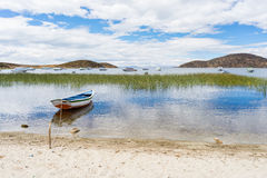 Boats on Island of the Sun, Titicaca Lake, Bolivia Stock Photo